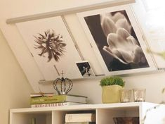 Creative art hanging on a sloped living-room wall - Dachboden Slanted Walls, Slanted Ceiling, Attic Rooms, Attic Spaces, Living Room Art, Living Room Designs, Pinterest Wall Art, Hanging Paintings, Bright Homes