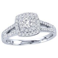 De Couer 10k White Gold 3/4ct TDW Diamond Double Halo Bridal Ring Set (H-I, I2)