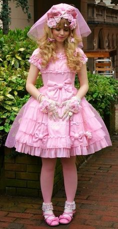 Pink Hime Lolita Wedding inspired coord