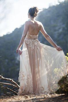 Blush Wedding Dress. Beautiful back.
