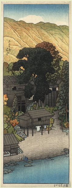 View of Shiogama, Shiobara, by Kawase Hasui, August 1918