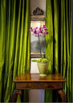 Lime green magenta (silk curtains in Suzanne Somer's Palm Springs home) Silk Curtains, Velvet Curtains, Drapery, Scarf Curtains, Curtains Living, Curtain Fabric, Color Of The Year 2017 Pantone, Pantone Color, Custom Drapes