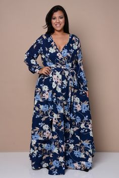 Plus Size Floral-Print Maxi Dress | Full Figured Fashion ...