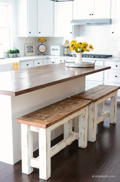 These charming farmhouse style kitchen benches are perfect up at your island! They're easy to make, clean, and give you extra seating space!