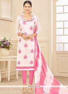 e640ded143d9b0 Appear stunningly appealing with this white cotton churidar suit. The  embroidered work seems to be