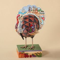Jim Shore Thanksgiving Turkey Figurine with a Pilgrim and Native American Indian…