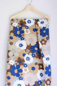 Vintage floral fabric brown and blue linen by fuzzymama on Etsy, $10.00