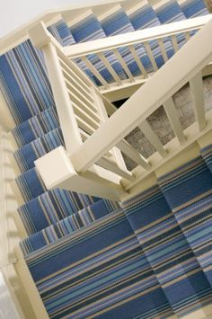 Little Landings Roger Oates Chatham China Blue Staircase Runner, New Staircase, Stair Runners, Striped Carpet Stairs, Striped Carpets, Stair Carpet, Beach Stairs, Blue Hallway, Stair Gallery