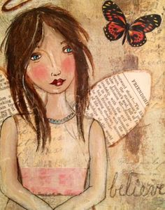 Angel mixed media by gracieandco on Etsy, $12.00