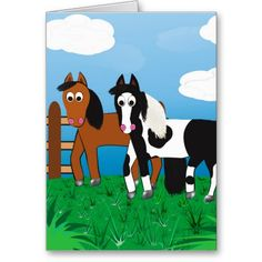 Horse Bag, Pony postcard, Cute horse gift, Black and White Paint Horse, Bay Morgan Horse, horses, gift for horse crazy girl, cute gifts, Post Card, Horse Birthday
