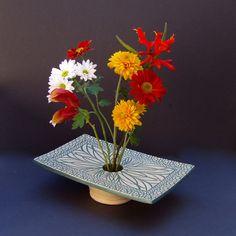 Ikebana Vase Handcrafted Ceramic Pottery by KensGardenPottery
