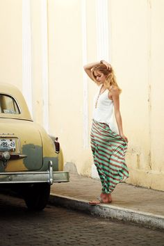 Striped maxi skirt, loose vest