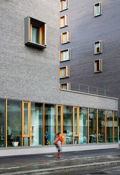 Image 18 of 26 from gallery of Boucicaut / MG-AU / Michel Guthmann Architecture et Urbanisme. Photograph by Takuji Shimmura Detail Architecture, Brick Architecture, Residential Architecture, Contemporary Architecture, Interior Architecture, Habitat Collectif, Grey Brick, Brick Facade, Social Housing