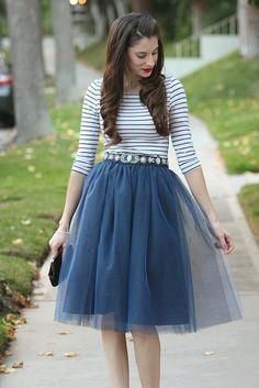 navy tulle skirt, striped shirt and anthropologie beaded belt