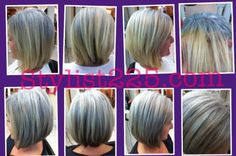 "11/30/11- before and after hair color to match ""growing out"" gold blonde color to ash (natural new growth / silver & gray) @Stéphane Rasseletéphane Rasselet..."