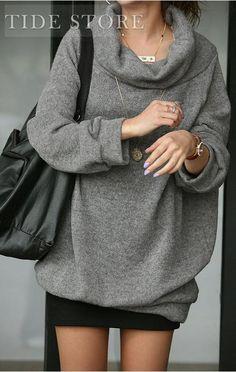 Luxurious oversize sweater in gray w/ turndown collar.