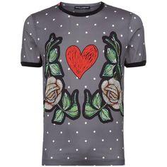 Dolce & Gabbana Heart and Roses Polka Dot T-Shirt ($280) ❤ liked · Mens ...