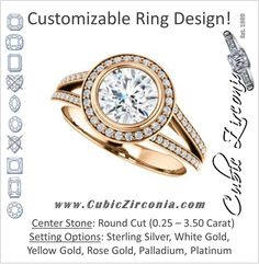 Cubic Zirconia Engagement Ring- The Josefina (Customizable Halo-Style Round Cut with Wide Split-Band Pavé)