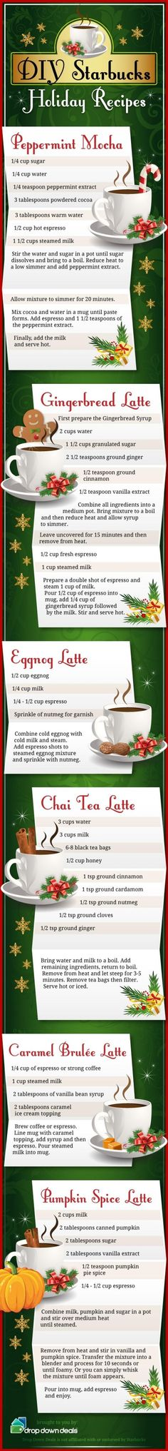 DIY Starbucks holiday drink recipes christmas winter
