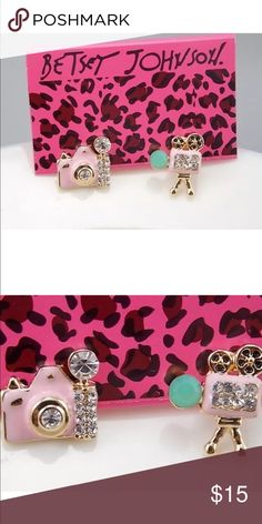 Betsey Johnson Crystal camera earrings Next day shipping. New with tags Betsey Johnson Jewelry Earrings