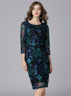 Lace Mesh Embroidery Tunic Pencil Dress