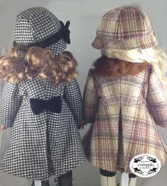 """Classic Coat and Hat 18"""" Doll Clothes Pattern"""