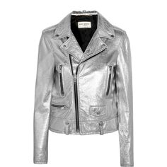 Saint Laurent Perfecto metallic textured-leather biker jacket (577605 RSD) ❤ liked on Polyvore featuring outerwear, jackets, silver, zip jacket, metallic biker jacket, metallic moto jacket, light weight jacket and moto jacket