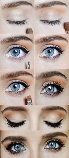 tutoriel maquillage simple yeux bleus