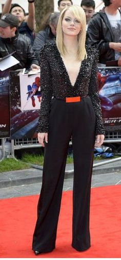Emma's sexy embellished Elie Saab V-neck jumpsuit turned heads at the UK premiere of The Amazing Spider-Man.
