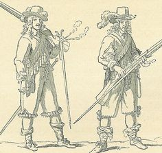 """French soldier armed with matchlock muskets of the 1640s - """"In the 17th century, an increasing majority of soldiers were armed with firearms, like these French troops of the 1640s armed with matchlock muskets. Print after Lostelneau."""""""
