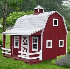 barn style playhouse would love for my neices n nephews cute.a reason to get a bunch of animals and leave the barn door open. I would put a sign that said No, I wasnt born in a barn, but I own one.