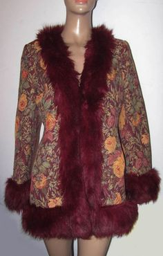 VINTAGE MISS SELFRIDGE 60 S STYLE TAPESTRY FAUX FUR TRIMMED AFGHAN COAT ... a785601c91e38