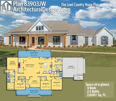Architectural Designs House Plan 83903JW gives you one-level modern farmhouse living with 4 beds, 2.5 baths and over 2,600 sq. ft. of heated living space.