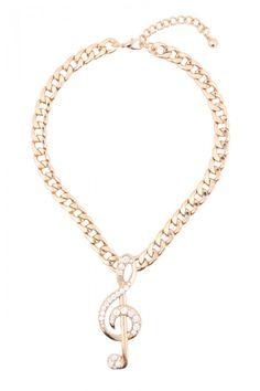 Rhinestone Studded Treble Clef Chain Necklaces
