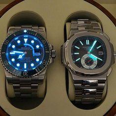 """Patek Philippe Nautilus&Rolex Submariner @rolex @patekaholic Thanks to @lovewatches"