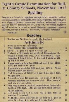 STRANGE EDUCATION ITEMS - 1912 TEST FOR 8TH GRADE - READING & ARITHMETIC - HOW WOULD YOU DO?