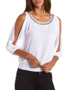 Cute embellished sheer cold shoulder top for work Cool Outfits, Casual Outfits, Shirt Refashion, Fashion Project, Elegant Outfit, Trendy Tops, Blouse Styles, Clothing Patterns, Diy Clothes