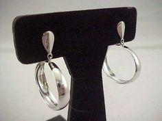 Vtg 1970s Dangle Oval Hoop Charm Silver Tone Plated Pierced Earrings
