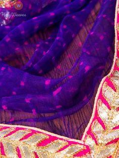 Purple Georgette Bandhani Dupatta - HolyWeaves - 2