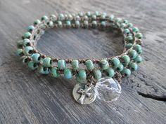 Rustic turquoise Crochet wrap bracelet necklace - Old FaithFul - sterling silver cross blue green country great stocking stuffer slashKnots