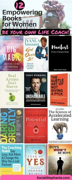 12 Empowering Books for Women: Be your own life coach. Books to read / motivational / inspirational/ in their / / / / / Christian / self help / personal development / coaching tips. Top Books To Read, Books To Read For Women, New Books, Good Books, Amazing Books, Personal Development Books, Leadership Development, 12th Book, Inspirational Books