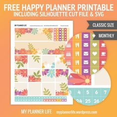 Free Printable Floral Planner Stickers {including Silhouette Cut Files & SVG} from My Planner Life