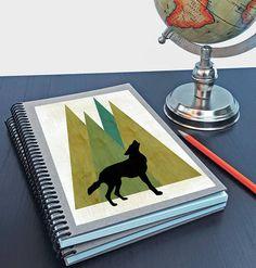 Artist Shanni Welsh's Woodland Wolf writing sketchbook. Journal. Spiral notebook. Woodland print design. Woodland Wolf art print. Home Accessory. Customizable.