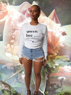Beyonce reminds everyone who's in charge in 'queen bee' sweatshirt - Standing out: The star is seen superimposed on a photograph of flowers in the series of - Estilo Beyonce, Beyonce Style, Beyonce Body, Rihanna, King B, Blue Ivy, Ripped Shorts, Glamour, Beauty