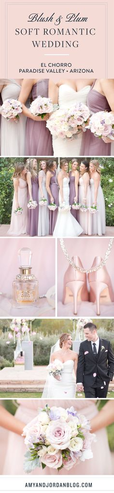 Blush and plum soft romantic wedding at El Chorro, in Scottsdale, Arizona.