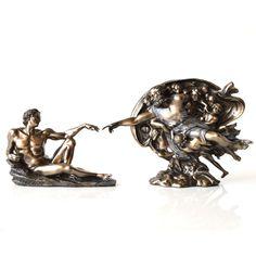 """""""Crearea lui Adam"""" de Michelangelo, statueta bronz o impresionanta statueta, o reproducere dupa pictura de pe tavanul Capelei Sixtine """"Crearea lui Adam"""", aceasta fiind cea mai impresionanta opera a lui Michelangelo. Este o opera fascinanta, de o complexitate aparte. Dimensiuni: 20cm http://www.myman.ro/cadouri-barbati/1434-crearea-lui-adam-de-michelangelo-statueta-bronz.html"""