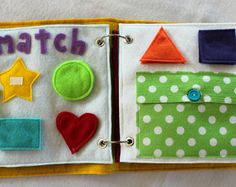 "NEW!  ""Match"" 2 Page Quiet Book Set to Expand Your Custom Handmade Quiet Book"