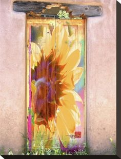 Sunflower Door Stretched Canvas Print by Suzanne Silk at AllPosters.com