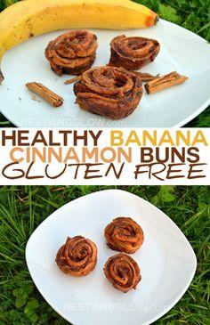 Healthy Banana Cinnamon Buns - Gluten and Dairy Free - http://www.nestandglow.com/healthy-recipes/banana-cinnamon-roll-buns