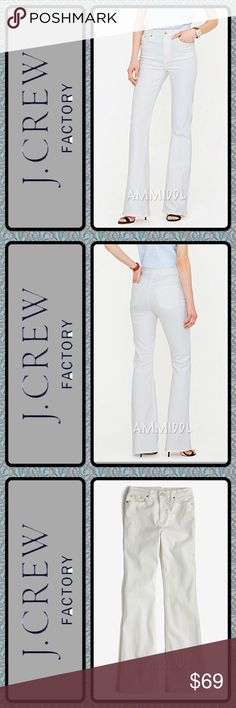 "🆕J. Crew Factory Stretch Boot Cut Jeans NWOT Brand new, never worn. Your new favorite jean has arrived, thanks to a flattering fit and perfectly flared leg. Made in a thicker stretch-denim fabric (that's also incredibly soft) because there's nothing worse than see-through white jeans. Retails for $89.   Details: 👖Size 28R 👖Material: 99% Cotton, 1% Spandex 👖Traditional 5-pocket styling 👖Sits above hip 👖Fitted through hip and thigh 👖Front rise: 8"" 👖33"" inseam 👖18"" leg opening 👖Care…"